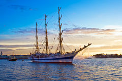 Old frigate on Neva river. A sailing ship anchored in Neva river, Saint Petersburg royalty free stock photo