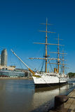 Old frigate ship in harbor. Old tall masted frigate ship moored in Buenos Aries harbor, Argentina Royalty Free Stock Photos