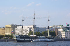 Old frigate in St.Petersburg. Stock Photo