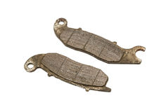 Old Front Disc Brake Pads of Sport bike Stock Photos