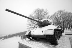 Old frozen russian WWII tank Stock Images