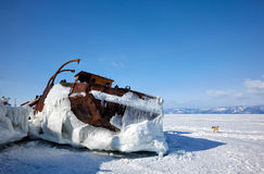 Old frozen ship on the bank of Olkhon island on lake Baikal Stock Images