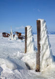 Old frozen ship on the bank of Olkhon island on siberian lake Ba Stock Image