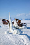 Old frozen ship on the bank of Olkhon island on siberian lake Ba Royalty Free Stock Photos