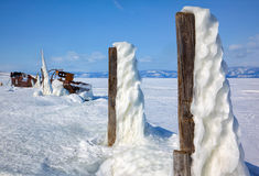 Old frozen ship on the bank of Olkhon island on siberian lake Ba Stock Photos