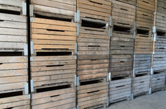 Old fruit crates stacked wooden. Background royalty free stock photography