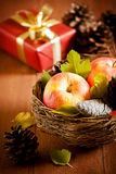 Old Fruits And A Present Royalty Free Stock Image