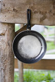 Old frying pan hanging on wooden Crossbeam Royalty Free Stock Photos