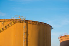 Old fuel oil storage tank in power plant Royalty Free Stock Images
