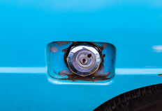 Old fuel tank lid on old car Royalty Free Stock Photo