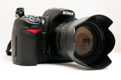 Nikon d 300. Old, functional Nikon D 300 camera Royalty Free Stock Photo