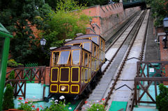 Old funicular in Budapest. Trams running through central europe Stock Image