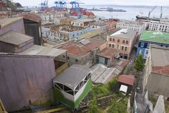 Old funicular cabins move in Valparaiso, Chile. VALPARAISO, CHILE - OCTOBER 19, 2013: Historical funicular cabins move up and downhill on October 19, 2013 in Stock Photography