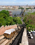Old funicular train in Budapest Royalty Free Stock Image