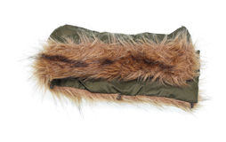 Old fur collar from the men`s winter jacket. On white background Stock Images