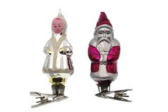 Old fur-tree toys on clips. Father Frost and the Snow Maiden it is isolated on a white background Stock Image