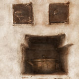 Old furnace. The old oven with a pan Royalty Free Stock Images