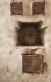 Old furnace. The old oven with a pan Royalty Free Stock Image