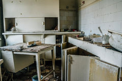 Old furniture in abandoned hospital. Old furniture in creepy abandoned Soviet hospital royalty free stock image