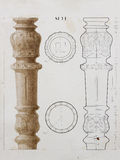 Old furniture architectural detail drawing. Old table part wooden carving furniture detail architectural drawing Stock Photos