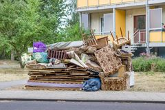 Old furniture and household goods. Big pile of old furniture and household goods on the roadside royalty free stock photos