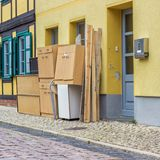 Old furniture and household goods. On the roadside stock images
