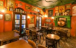 Old furniture inside bar with historical decoration and vintage style Stock Photo