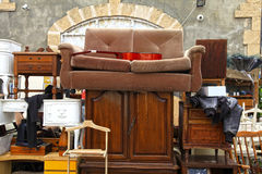 Old furniture and other staff at Jaffa flea market, Tel Aviv stock image