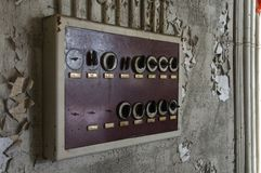 Old fuse box in an abandoned hall Royalty Free Stock Photo