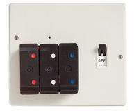 Old Fuse Box. With cover removed isolated on white with clipping path royalty free stock images