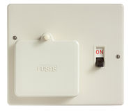 Old Fuse Box. Switched on isolated on white with clipping path stock photo