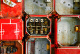 Old fuse cabinet. Old rusty industrial fuse cabinet royalty free stock photography