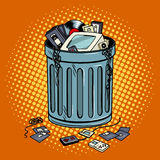Old gadgets in trash can pop art style vector. Illustration. Comic book style imitation Royalty Free Stock Photo
