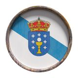 Old Galicia flag. 3d rendering of an autonomous community of Spain, Galicia flag over a rusty metallic plate.  on white background Royalty Free Stock Image