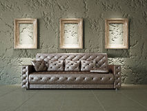 Old gallery. With sofa near the wall Stock Photography