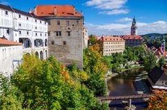 Old gallery in Medieval city Cesky Krumlov and the Vltava River royalty free stock images