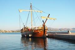 Old galley. Historic galley docked in port. Šibenik,Croatia royalty free stock photography