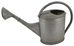Old galvanised metal watering can stock photography