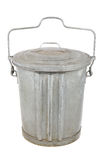 Old galvanized garbage can with lid and handle Royalty Free Stock Image