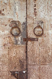 Old galvanized steel door handles iron. Old galvanized steel door handles stock photos
