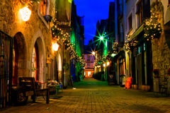 Old Galway city street at night. Old Galway city street,Kerwan's Lane,decorated with christmas lights,night scene Royalty Free Stock Image