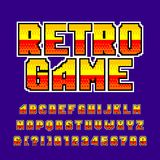 Old game alphabet font. Colorful pixel gradient letters and numbers. Retro 80`s video game typeface vector illustration