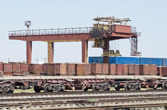 Old gantry crane with construction elements. Stock Photos