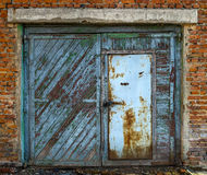 Old garage gate closed Royalty Free Stock Photos