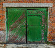 Old garage gate closed Stock Images