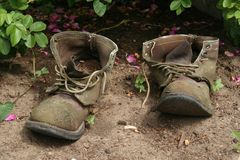 Old Garden Boots Stock Photo