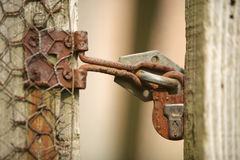 Old garden lock and fence Royalty Free Stock Photos