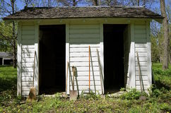 Old garden Shed with double doors Stock Photo