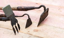 Old garden tools concept, well used. ÑŽ royalty free stock photography