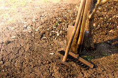 Old garden tools. Old retro garden tools (cultivator, shovel, rake) over brown soil (ploughed land) close up, horizontal.  Agriculture, gardening, soil Royalty Free Stock Images